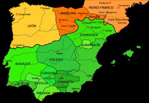 La península Ibérica en 1030 con la división del Califato de Córdoba en taifas y los reinos de León y Pamplona y el Condado de Barcelona.